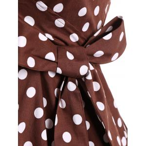 Retro Hepburn Style Polka Dot Bowknot Belted Wrap Dress - COFFEE XL