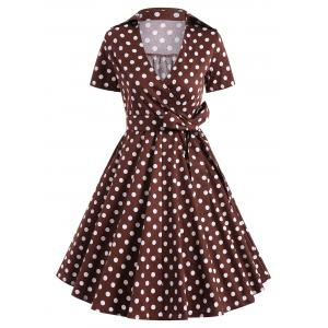 Retro Hepburn Style Polka Dot Bowknot Belted Wrap Dress - Coffee - S