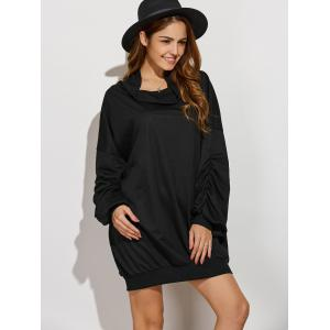 Active Cowl Neck Ruched Sleeve Sweatshirt Dress -