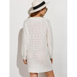 Pullover Casual Jumper Sweater Dress Winter - WHITE ONE SIZE
