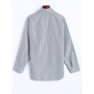 Letter Patched Striped Number Embroidered Shirt -