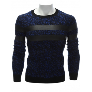 Crew Neck PU Leather Stripe Spliced Sweater - Blue - M