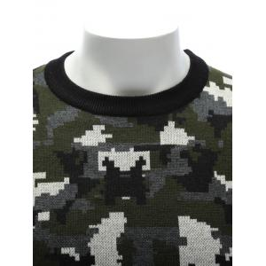 Crew Neck Camouflage Sweater - COLORMIX 3XL