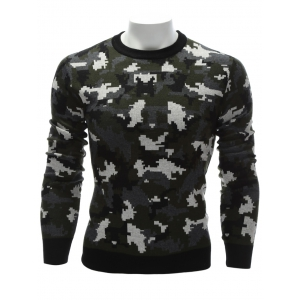 Crew Neck Camouflage Sweater - Colormix - M