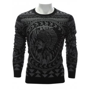 Crew Neck Ethnic Style Chief Graphic Sweater