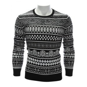 Crew Neck Ethnic Style Geometric Graphic Sweater - White - M