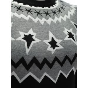 Crew Neck Color Block Waviness Graphic Sweater - BLACK AND GREY 3XL