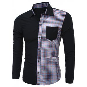 Plaid Splicing Long Sleeve Shirt