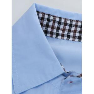 Plaid Edging Spliced Long Sleeve Shirt - LAKE BLUE 2XL