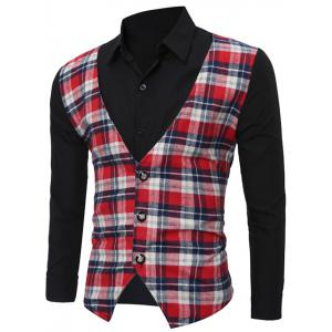 Faux Twinset Checked Vest Spliced Long Sleeve Shirt