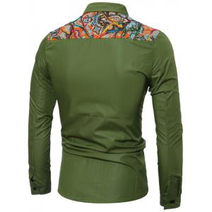 Colorful Floral Spliced Long Sleeve Pocket Shirt - GREEN XL