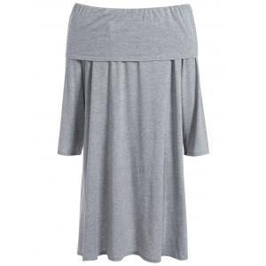 Asymmetric Casual Long Sleeve Off The Shoulder Dress - GRAY XL