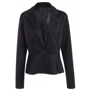 Fitted One Button Jacket Peplum Blazer - Black - L