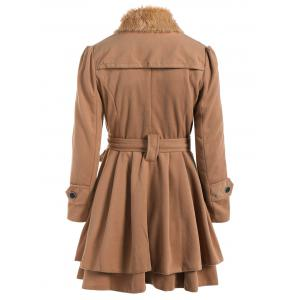 Double Breasted Furry Collar A Line Wool Coat -