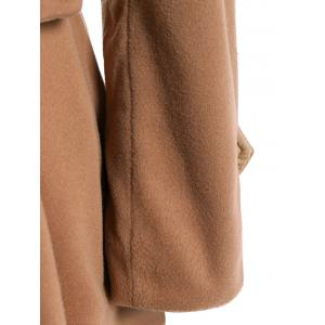 Double Breasted Furry Collar A Line Wool Coat - CAMEL XL