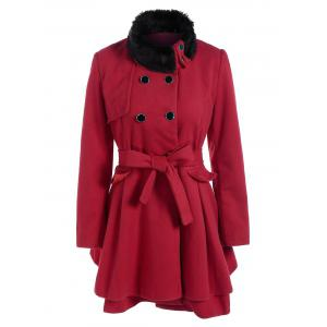 Double Breasted Furry Collar A Line Wool Coat