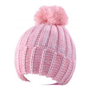 Yarn Knitted Pompom Ball Beanie Hat - Pink