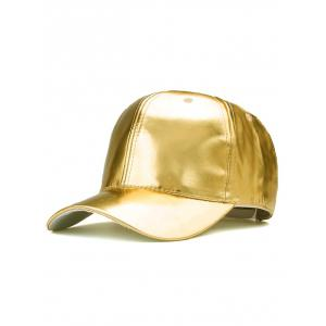 Sparkling PU Leather Baseball Hat - Golden