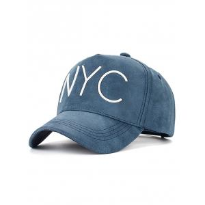 Casual NYC Letter Printed PU Leather Baseball Hat - Cadetblue