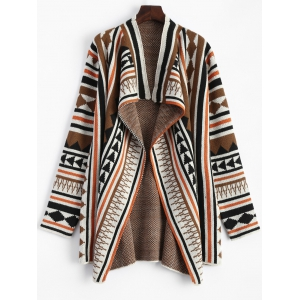 Geometric Pattern Asymmetric Plus Size Cardigan