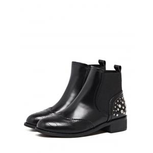 Rivet Engraving PU Leather Short Boots -