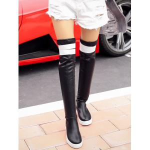Casual PU Leather Color Block Thigh Boots -