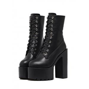 High Heel Fold Down Combat Boots -