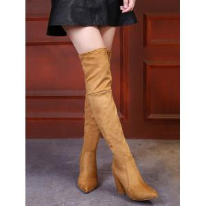 Chunky Heel Pointed Toe Thigh High Boots -