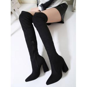 Chunky Heel Pointed Toe Thigh High Boots - BLACK 39