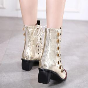 Straps Back Zip Up Pointed Toe Short Boots - GOLDEN 40