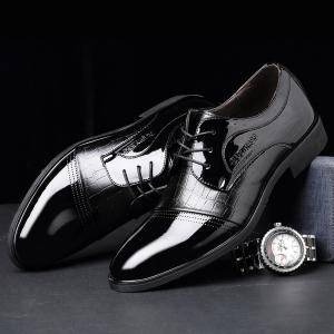 Patent Leather Insert Formal Shoes - BLACK 43