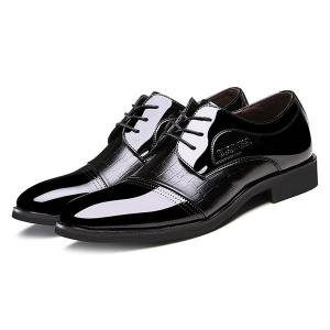 Patent Leather Insert Formal Shoes - BLACK 40