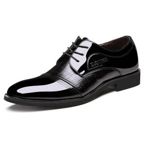 Patent Leather Insert Formal Shoes - Black - 40