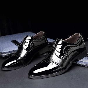 Patent Leather Insert Formal Shoes -