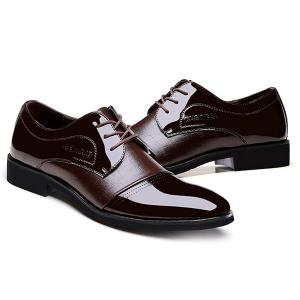 Patent Leather Insert Formal Shoes - BROWN 42