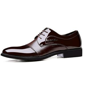 Patent Leather Insert Formal Shoes - Brown - 42