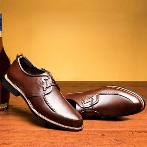 PU Leather Stitching Formal Shoes - BROWN 43