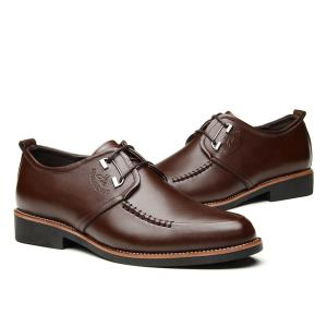 PU Leather Stitching Formal Shoes - BROWN 44