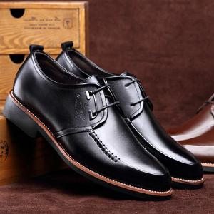 PU Leather Stitching Formal Shoes - BLACK 43
