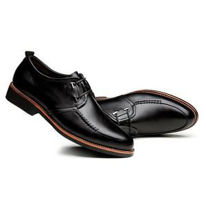 PU Leather Stitching Formal Shoes - BLACK 40