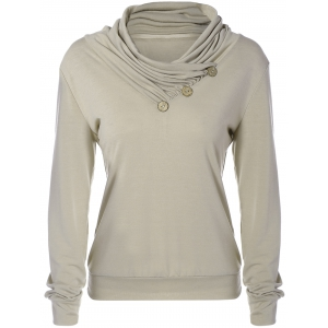 Cowl Neck Long Sleeve Button Tee - Khaki - Xl