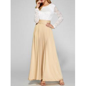 Lace Panel Maxi Evening Long Sleeve Dress - Apricot - S