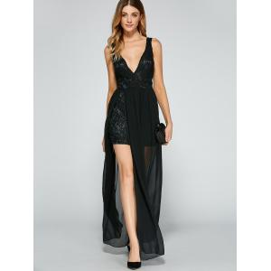 Lace V Neck Chiffon Slit Backless Long Prom Dress - BLACK S