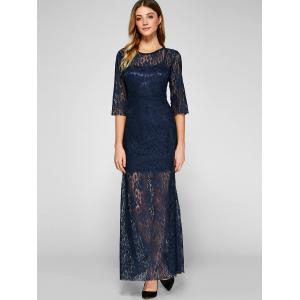 Backless Maxi Prom Evening Dress with Lace - NAVY BLUE XL