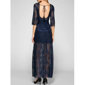 Sheer Lace Backless Maxi Prom Evening Dress