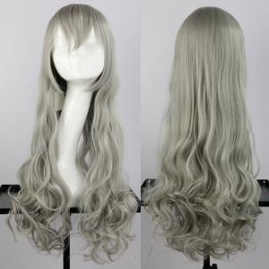 Long Side Bang Wavy Synthetic Cosplay Wig - Greyish Brown