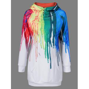 Oil Paint Over Print Hoodie - White - 3xl