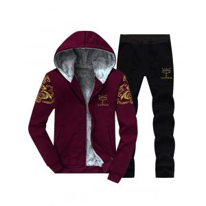 Printed Flocking Hoodie and Drawstring Pants Twinset - Burgundy - 2xl