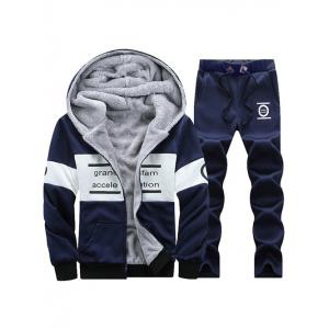 Graphic Flocking Hoodie and Drawstring Pants Twinset - Deep Blue - 4xl