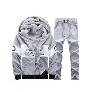 Graphic Flocking Hoodie and Drawstring Pants Twinset - Light Gray - M